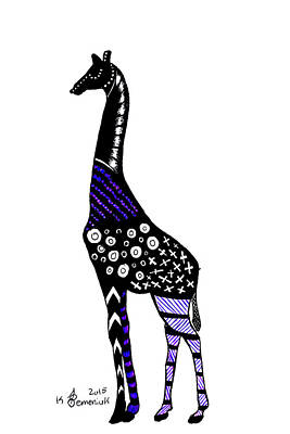 Geometric Giraffe Drawing - Giraffe by Kayleigh Semeniuk