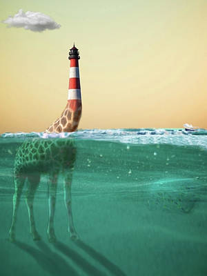 Digital Art - Giraffe Lighthouse by Keshava Shukla