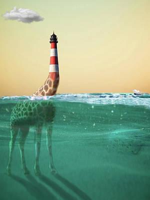 Digital Art - Giraffe Lighthouse by Keshava Shukla