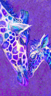 Digital Art - Giraffe Love 515 by Jane Schnetlage