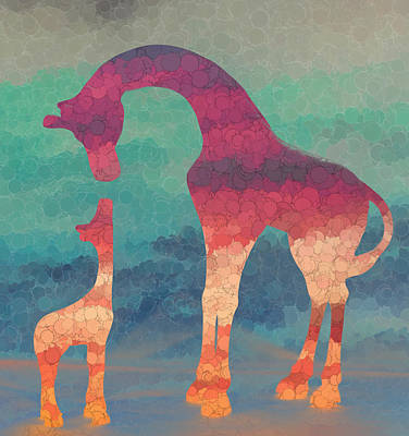 Giraffe Love Mother And Child Art Print by Terry DeLuco
