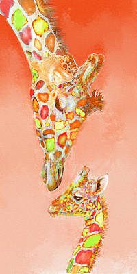 Giraffe Love- Orange Art Print by Jane Schnetlage