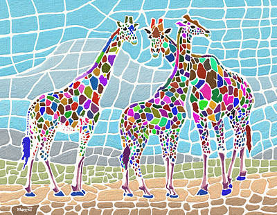 Painting - Giraffe Maze by Anthony Mwangi