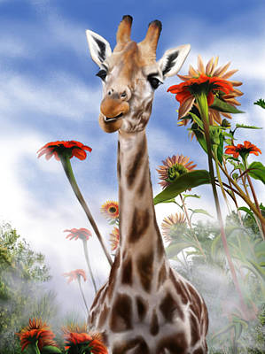 Wall Art - Painting - Giraffe by Melinda Zielfelder