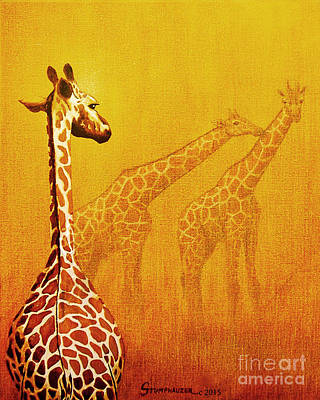 Giraffe Eyes Painting - Giraffe Memories by Jerome Stumphauzer