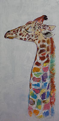 African Child Painting - Giraffe by Michael Creese