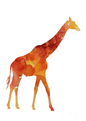 Giraffe Minimalist Painting For Sale Print by Joanna Szmerdt