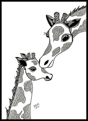 Drawing - Giraffe Mom And Baby by Barbara McConoughey