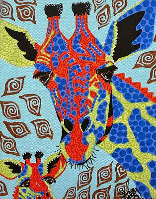 Painting - Giraffe Mom And Baby by Kelly Nicodemus-Miller