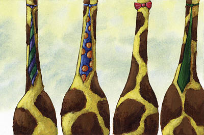 Giraffe Painting - Giraffe Neckties by Christy Beckwith