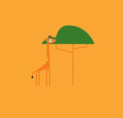 Digital Art - Giraffe On Savanna by Pbs Kids