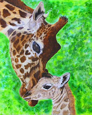 Giraffe Parent And Calf Original by M Gilroy