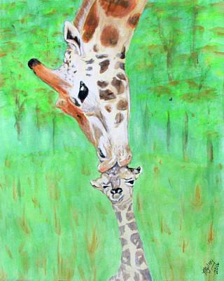 Giraffe Parents First Kiss Original by M Gilroy