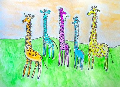 Painting - Giraffe Party by Anne Sands