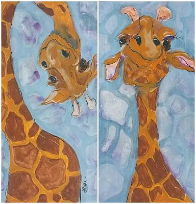 Giraffe Set Art Print by Terri Einer