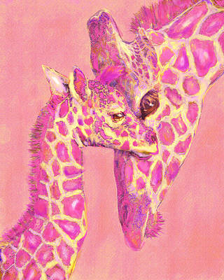 Giraffe Shades- Pink Art Print by Jane Schnetlage