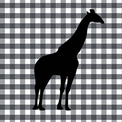 Gingham Digital Art - Giraffe Silhouette by Linda Woods