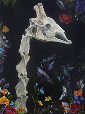 Painting - Giraffe Skeleton And Flowers by Elise Procter