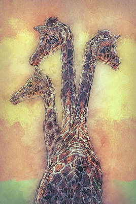 Graphic Digital Art Painting - Giraffe-three In A Row by Jack Zulli