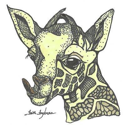 Giraffe, Tongue Out Art Print by Faith Frykman