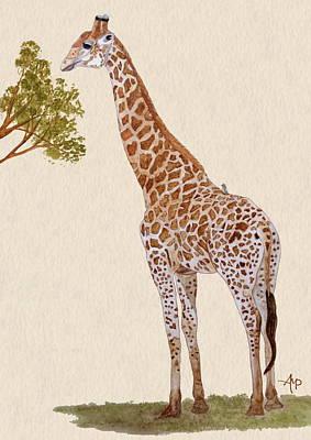 Tanzania Painting - Giraffe Watercolor by Angeles M Pomata