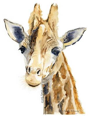 Giraffe Eyes Painting - Giraffe Watercolor by Melly Terpening