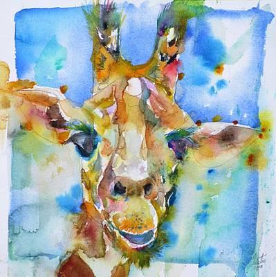 Painting - Giraffe - Watercolor Portrait.2 by Fabrizio Cassetta