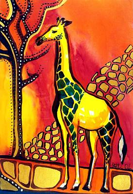 Painting - Giraffe With Fire  by Dora Hathazi Mendes