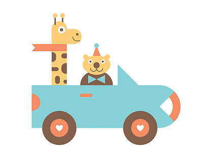 Giraffe Wall Art - Digital Art - Animal Car Pool by Mitch Frey