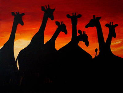 Painting - Giraffes At Sunrise by Katy Hawk