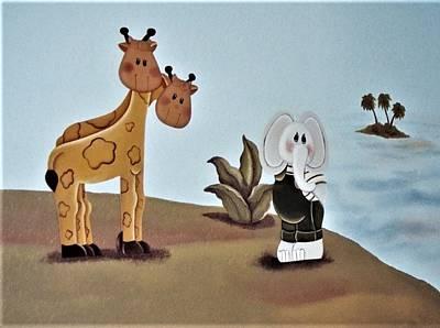 Giraffes, Elephants And Palm Trees Art Print