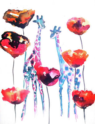 Giraffes Painting - Giraffes In The Poppies by Emma Kaufmann
