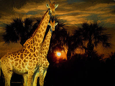 Manipulation Photograph - Giraffes In The Sunset by EricaMaxine  Price