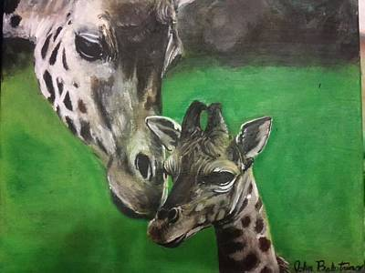 Mother And Baby Giraffe Painting - Giraffes by John Balestrino