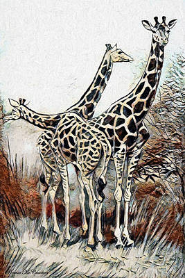 Art Print featuring the digital art Giraffes by Pennie McCracken