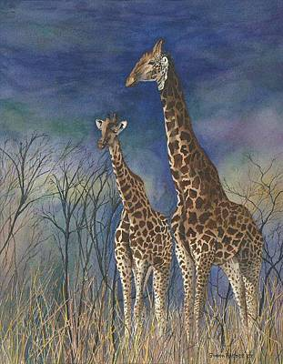 Lansdcape Painting - Giraffes by Sharon Farber
