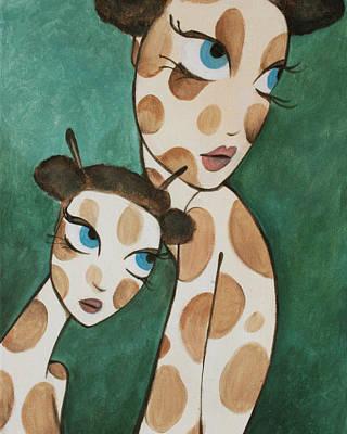 Girafina And Her Sister Print by Dania Piotti