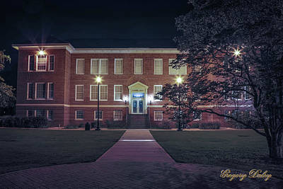 Photograph - Girard Hall At Night by Gregory Daley  PPSA