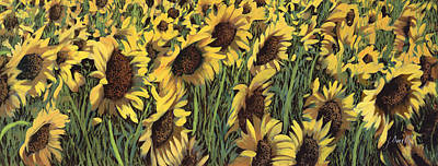 Sunflower Painting - Girasoli Meno Gialli by Guido Borelli