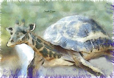 Reptile Digital Art - Giraturtle - Da by Leonardo Digenio