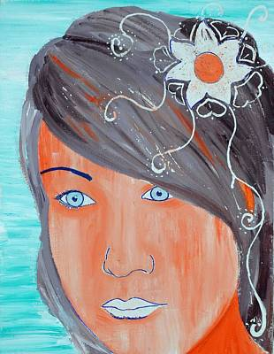 Art Print featuring the painting Girl 12 by Josean Rivera