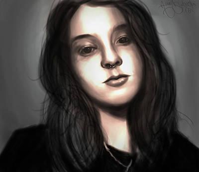 Blackart Digital Art - Girl by Amad Sabedini