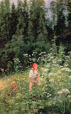 Nostalgia Painting - Girl Among The Wild Flowers by Olga Antonova Lagoda Shishkina
