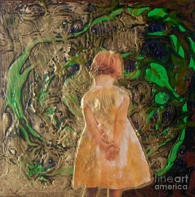 Girl And A Beanstalk  Art Print by Michaela Kraemer