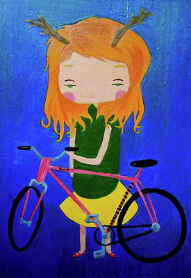 Painting - Girl And Bike by Alayna Frankenberry