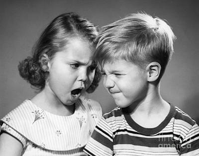 Bad Relationship Photograph - Girl And Boy Arguing, C.1950s by Debrocke/ClassicStock