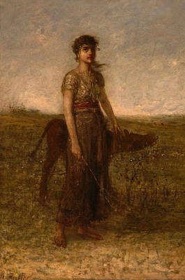 Painting - Girl And Calf by George Fuller