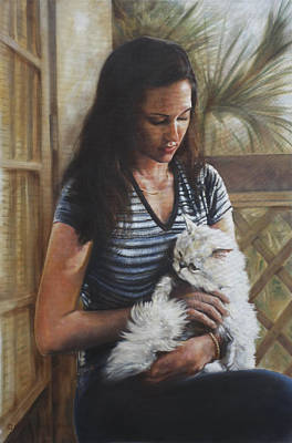 Painting - Girl And Cat Portrait by Harvie Brown