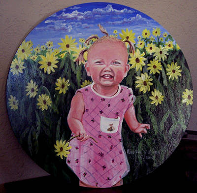 Painting - Girl And Daisies by Ruanna Sion Shadd a'Dann'l Yoder