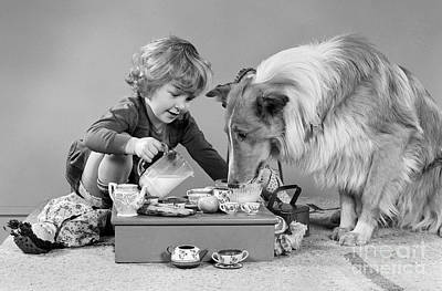 Pet Care Photograph - Girl And Dog Having Tea Party by H. Armstrong Roberts/ClassicStock